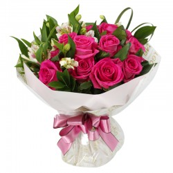Pink Roses with Seasoning Flowers Arrangement(OFB-005)