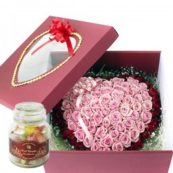 100 Roses Boxed in Double Heart Bouquet 2 + Candy (15001012)