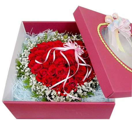 50 Roses Boxed in Heart Bouquet 2(OFC-015)