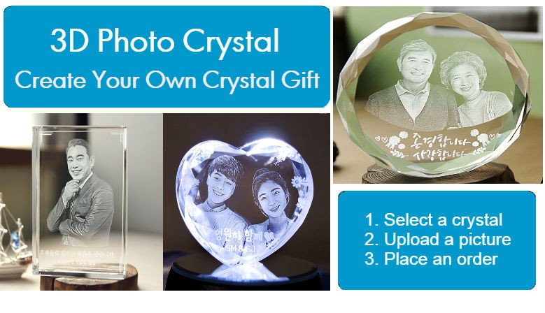 Customized 3D Photo Crystal for Loved one in Korea.