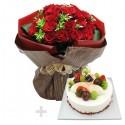 A Cake + Flower bouqet 1 (onv-056)