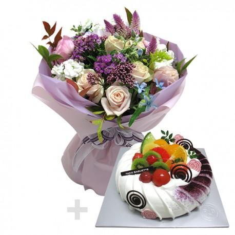 A Cake + Flower bouqet 3 (onv-058)