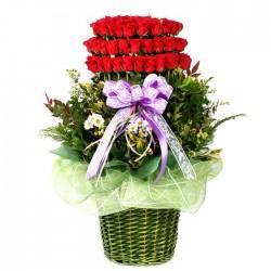 100 Roses basket 2(OFA-024)