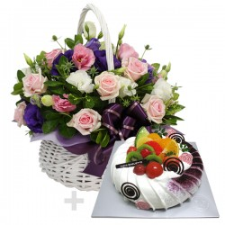 A Cake + Flower basket 2 (ONB-092)