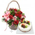 A Cake + Flower basket 4 (ONB-094)