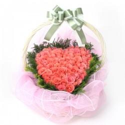Pink Roses heart Basket(OFA-033)