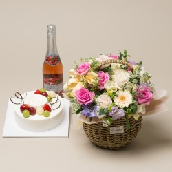 A Cake + Champagne + Flower basket 2 (2009022)