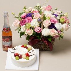 A Cake + Champagne + Flower basket 3 (2009023)