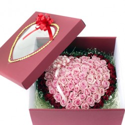 100 Roses Boxed in Double Heart Bouquet 2(ofp-052)
