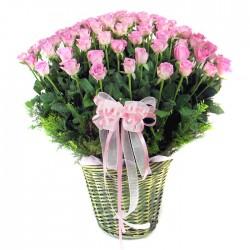 100 Pink Roses basket (OFA-043)
